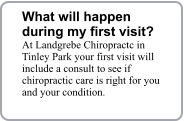 What will happen during my first visit? At Landgrebe Chiropractc in Tinley Park your first visit will include a consult to see if chiropractic care is right for you and your condition.